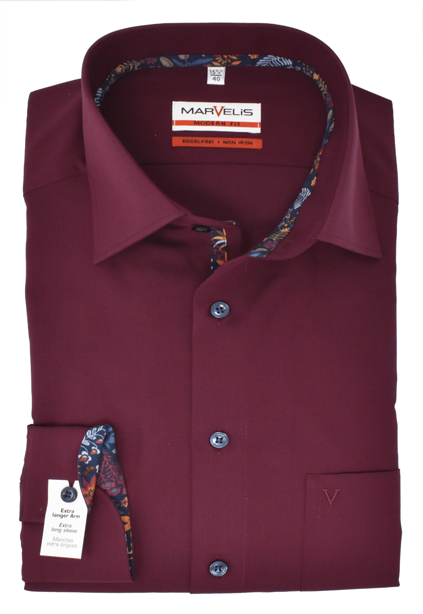 Marvelis Herren Businesshemd Modern Fit Extra langer Arm New Kent Kragen Uni Bordeaux