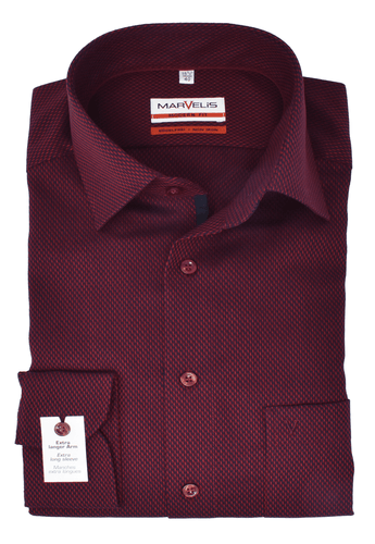 Marvelis Herren Businesshemd Modern Fit Extra langer Arm New Kent Kragen Struktur Bordeaux