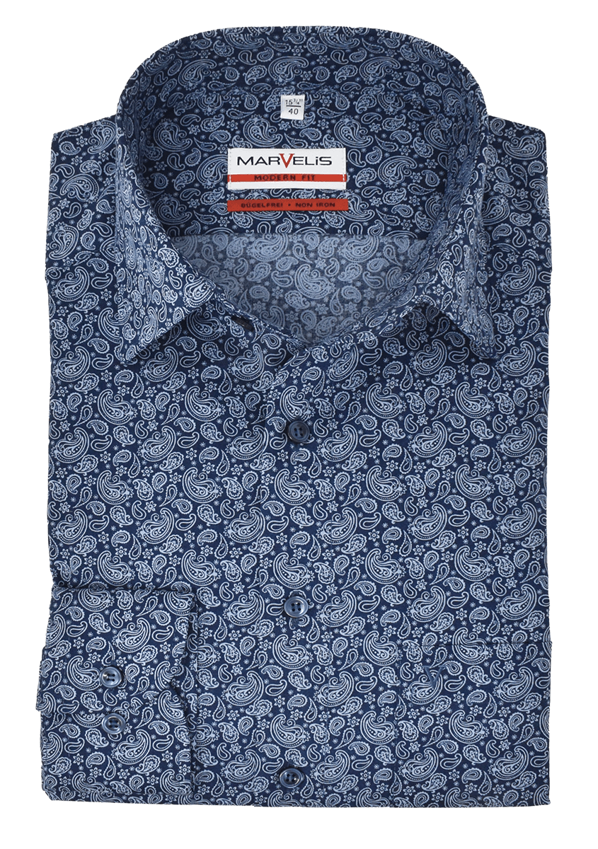 Marvelis Herren Businesshemd Modern Fit New Kent Kragen Paisley Dunkelblau