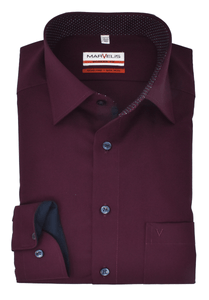 Marvelis Herren Businesshemd Modern Fit New Kent Kragen mit Besatz Uni Bordeaux