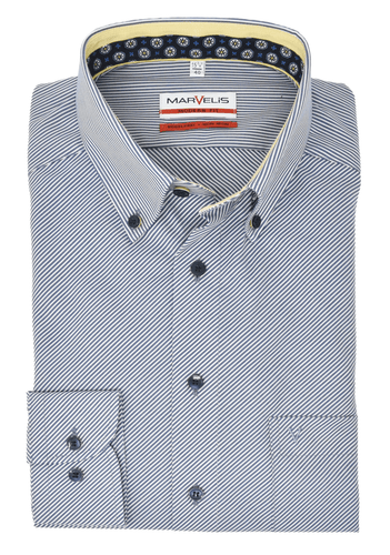 Marvelis Modern Fit Button Down Kragen gestreift Dunkelblau
