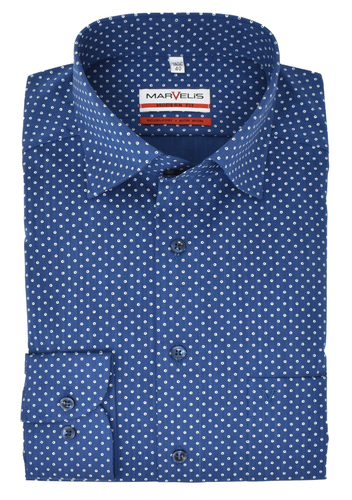 Marvelis Herren Businesshemd Modern Fit Under-Button Down Kragen Muster Blau Dunkelblau