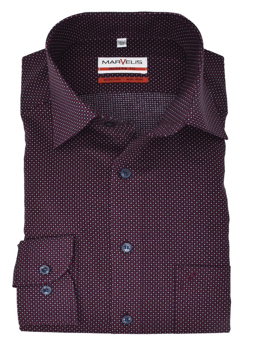 Marvelis Herren Businesshemd Modern Fit New Kent Kragen Muster Bordeaux