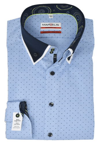 Marvelis Herren Businesshemd Modern Fit Extra langer Arm Button Doppelkragen Vichykaro Hellblau