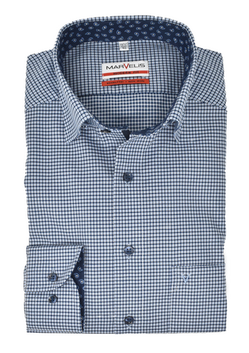Marvelis Herren Businesshemd Modern Fit Under Button Down Kragen Muster Blau