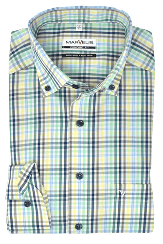 Marvelis Herren Businesshemd Comfort Fit Button Down Kragen Langarm Kariert Grün