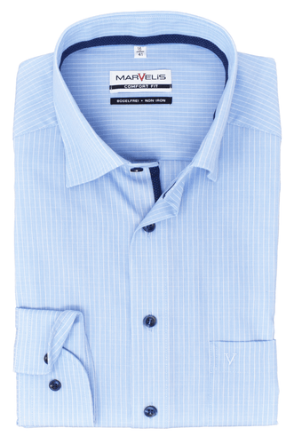 Marvelis Herren Langarmhemd Comfort Fit Under Button Down Langarm Einfarbig Hellblau