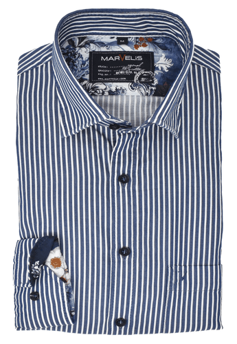 Marvelis Herren Freizeithemd Casual Fit Under Button Down Kragen gestreift Blau /Weiß