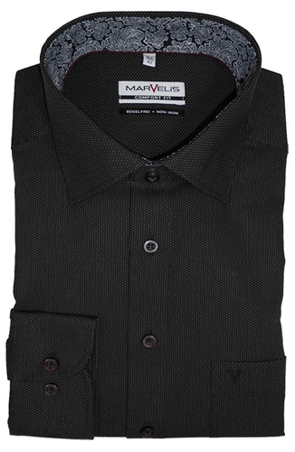 Marvelis Herren Businesshemd Comfort Fit Punkte schwarz