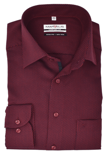 Marvelis Herren Businesshemd Comfort Fit New Kent Kragen Bordeaux Struktur mit Besatz