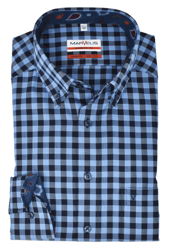 Marvelis Herren Businesshemd Modern Fit Button Down Kragen Karo Hellblau Dunkelblau