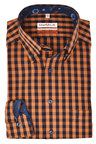 Marvelis Herren Hemd Modern Fit Hemd Button Down Kragen Kariert