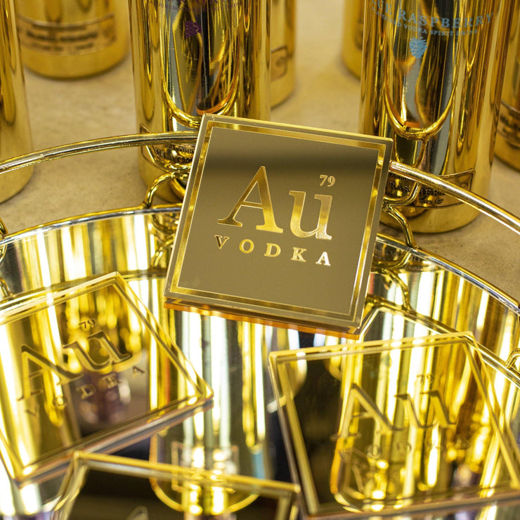AU SQUARE GOLD MIRRORED COASTERS - Au Vodka