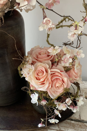 Blossom and Roses in a Bronze Vase Set