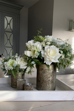 Roses, Queen Anne's Lace in a Champagne / Bronze Vase