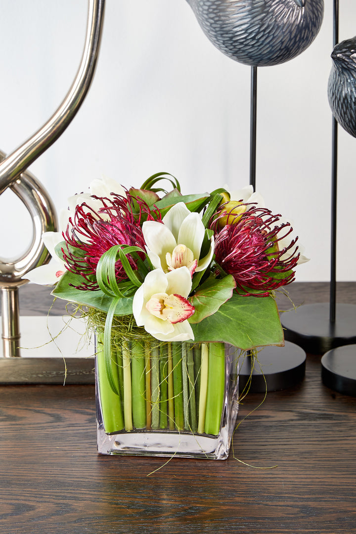 Cymbidium Orchids and Protea in a Stem Lined Cube