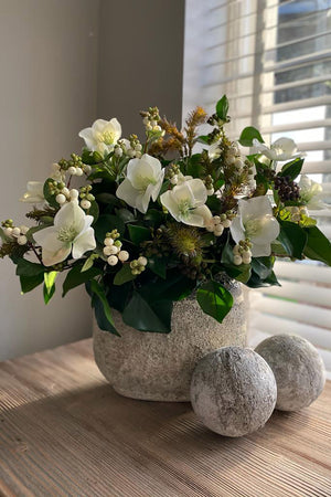 Hellebores, Berry and Ivy in a Two tone Vase