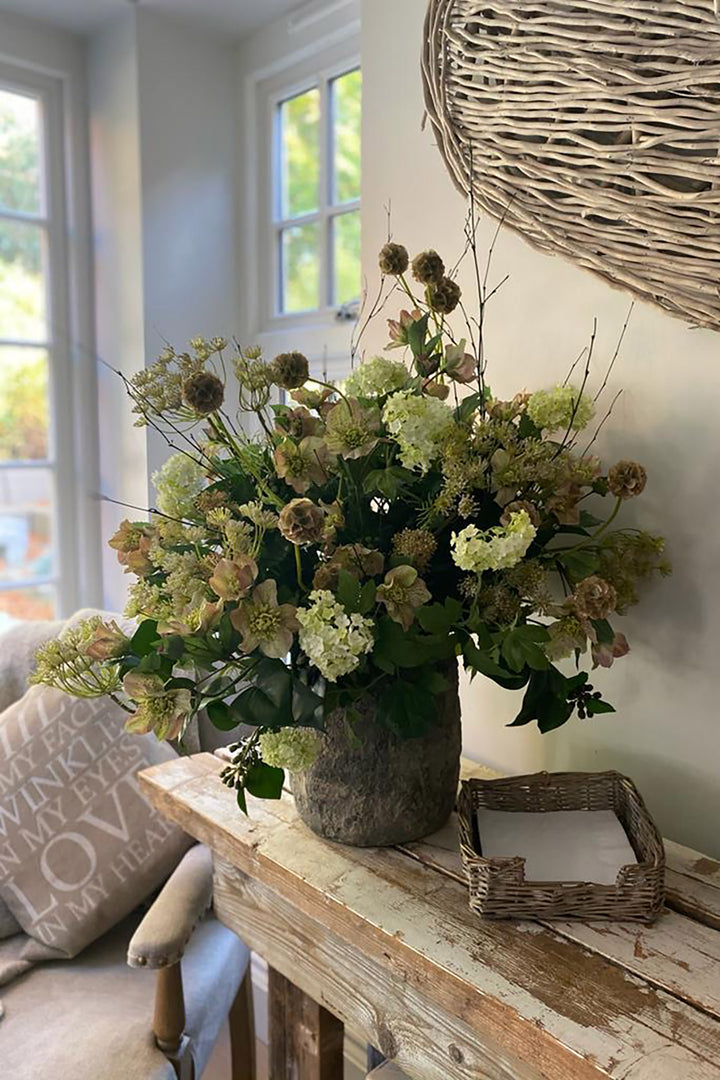 Hellebore, Guelder Rose and Queen Anne's Lace in a Stone Pot
