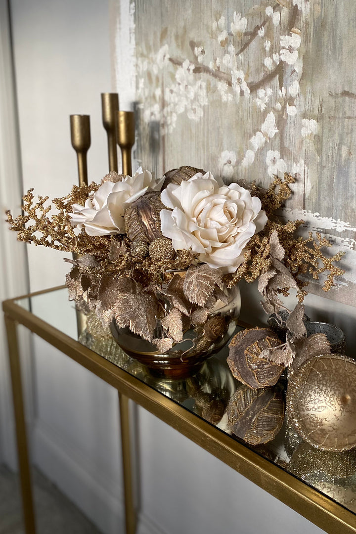 Roses, Champagne gold branches and Baubles in a Goldfish Bowl