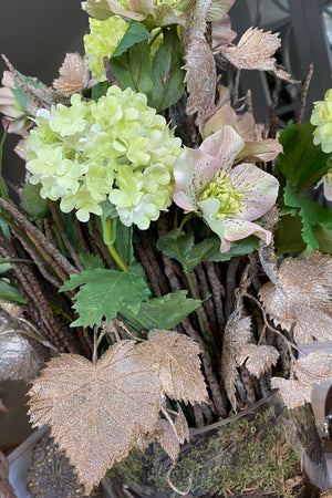 Hellebores, Guelder Rose and Rose Gold Leaf in a Glass Cylinder