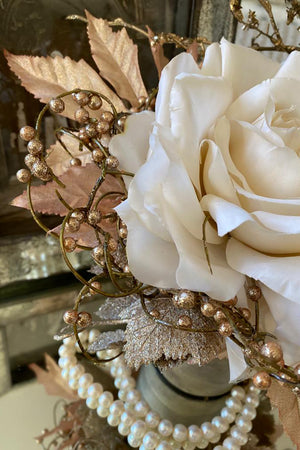 Rose and Berries in a Champagne Gold Vase