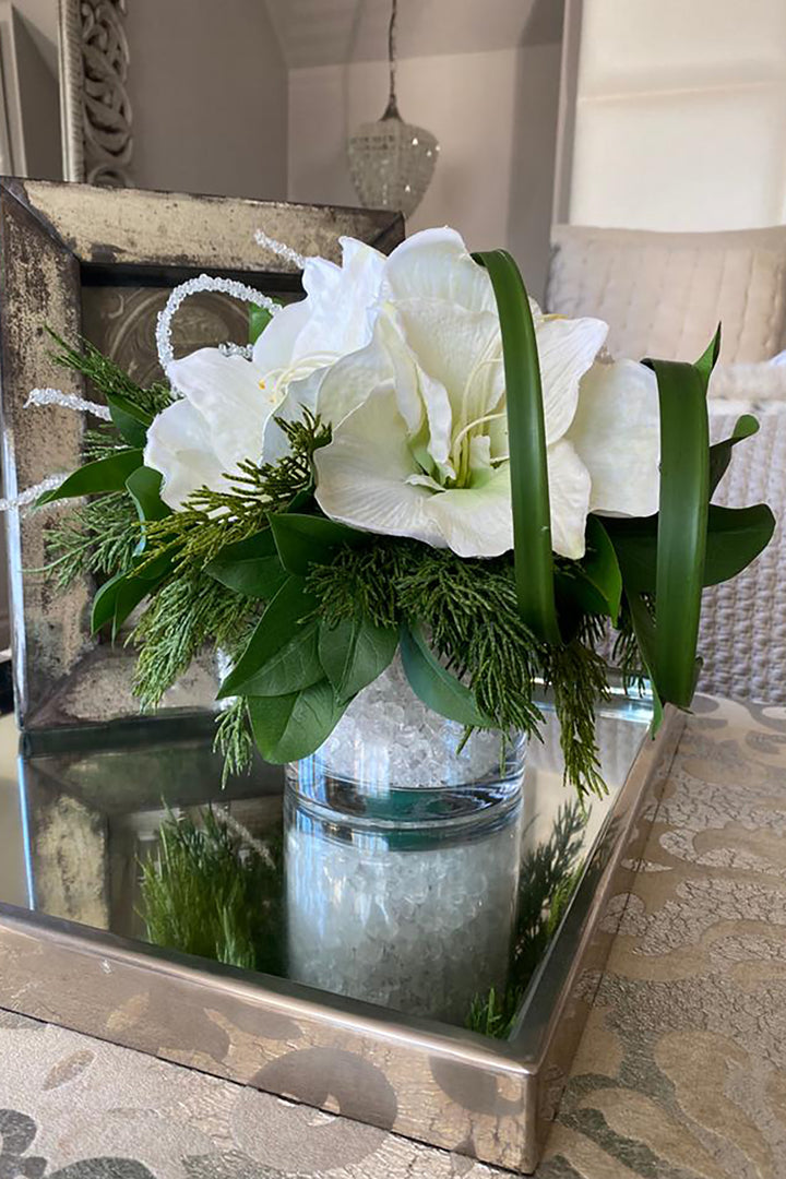 Amaryllis, Spruce and Baubles in a Glass Cylinder
