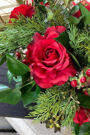 Roses, Ivy and Berries in a Champagne Gold Bowl