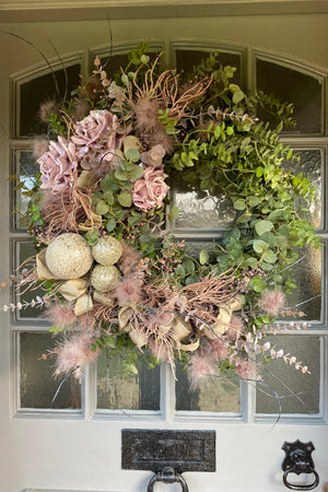 Eucalyptus, Roses, Baubles and Feather Wreath
