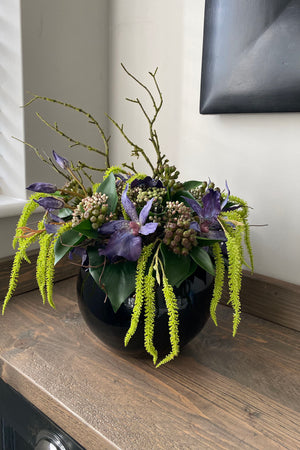 Spider Orchid, Ivy and Catkin in a Black Goldfish Bowl