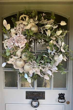 Eucalyptus, Roses, Baubles and Feather Wreath (Silver)