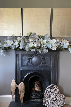 Flocked Spruce Garland with Amaryllis, Eucalyptus and  Baubles