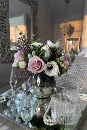Anemone, Roses and Berries in a Black/Silver Vase