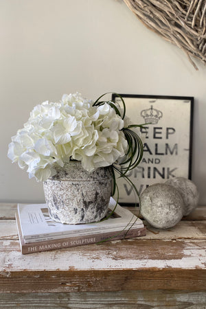 Hydrangeas in a Grey/White Washed Stone Pot (Cream)