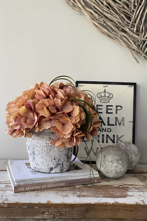 Hydrangeas in a Grey/White Washed Stone Pot (Vintage Coral)
