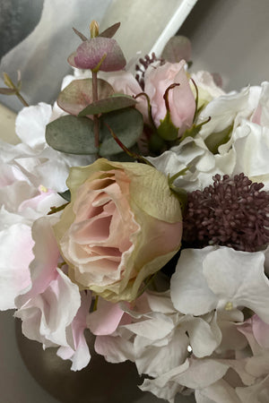 Hydrangea, Eucalyptus, Rose and Skimmia in a Champagne Bronze Vase ( Pink)