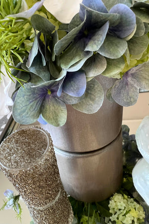 Hydrangea, Snowball, Nigella and Orchids in a Champagne Bronze Vase ( Blue)