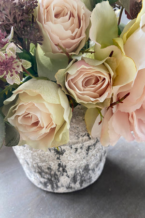 Peony, Rose and Skimmia in a White Washed Stone Pot
