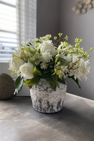 Roses, Lilac and Queen Anne's Lace in a Stone Pot