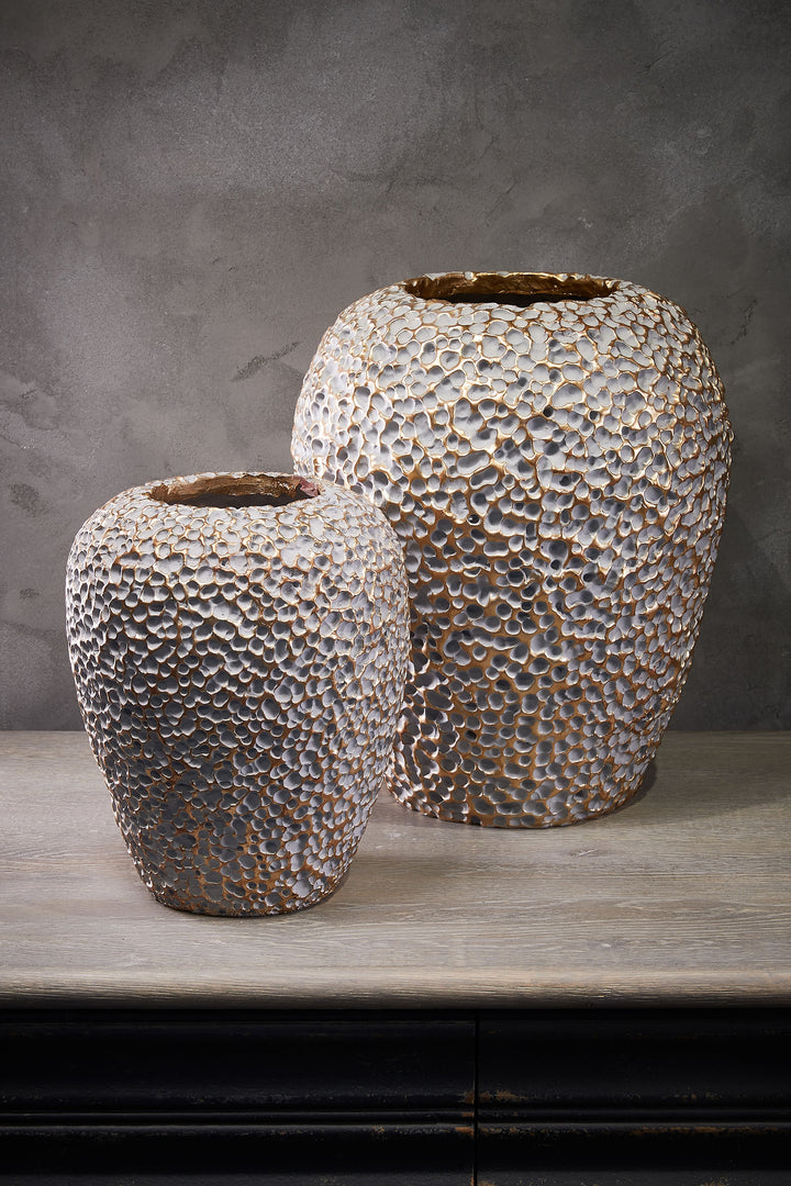 Grey Gold Textured Vase Set