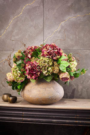 Hydrangea, Rose and Ivy in a Stone Pot
