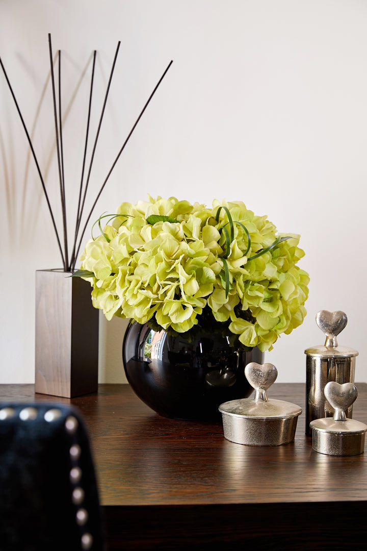 Hydrangea in a Black Goldfish bowl Green