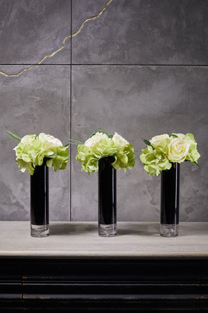 Hydrangeas and Roses in a Black Glass Cylinder