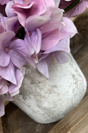 Hydrangeas in a Lime Washed Stone Pot (Pink)
