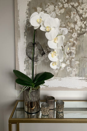 Orchid in a Bronze Metallic Vase