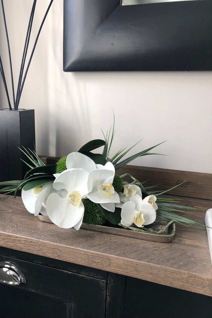 Orchids and Dianthus on a Silver tray