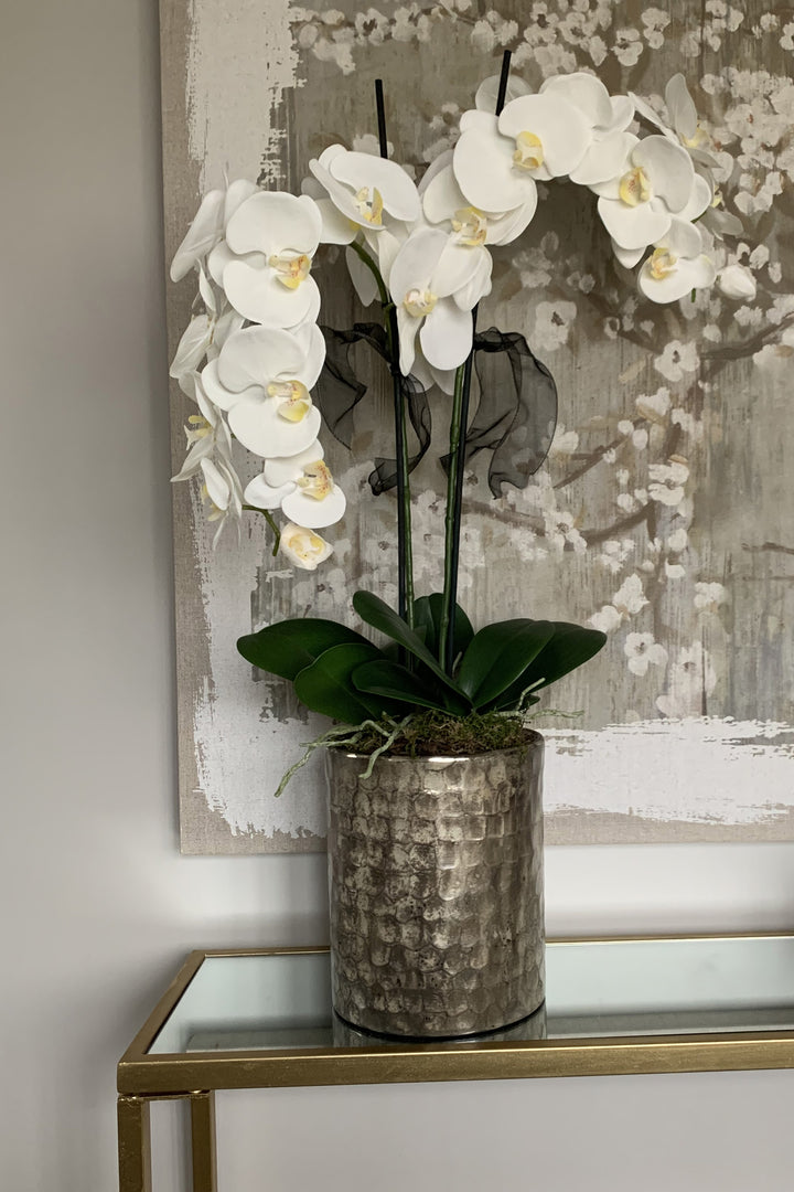 Orchids in Champagne Bronze Tall Vase