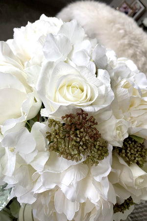Peony, Hydrangea and Roses in a Stem lined Vase (cream)