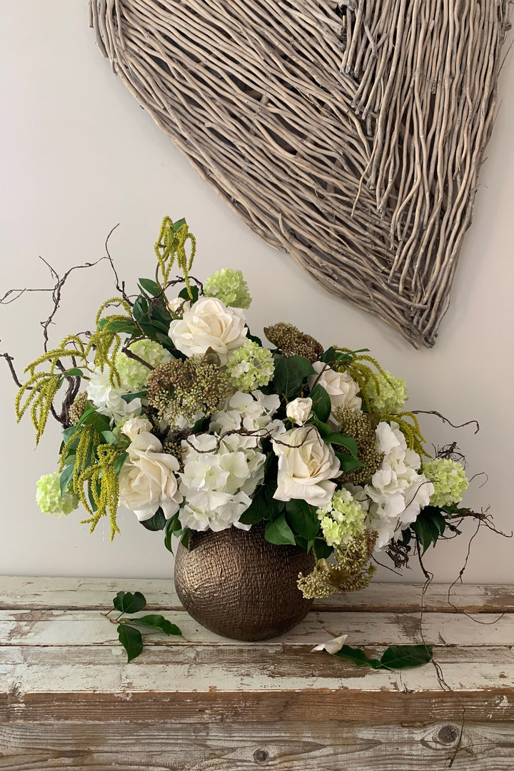 Rose, Hydrangea and Guelder Rose in a Bronze Vase