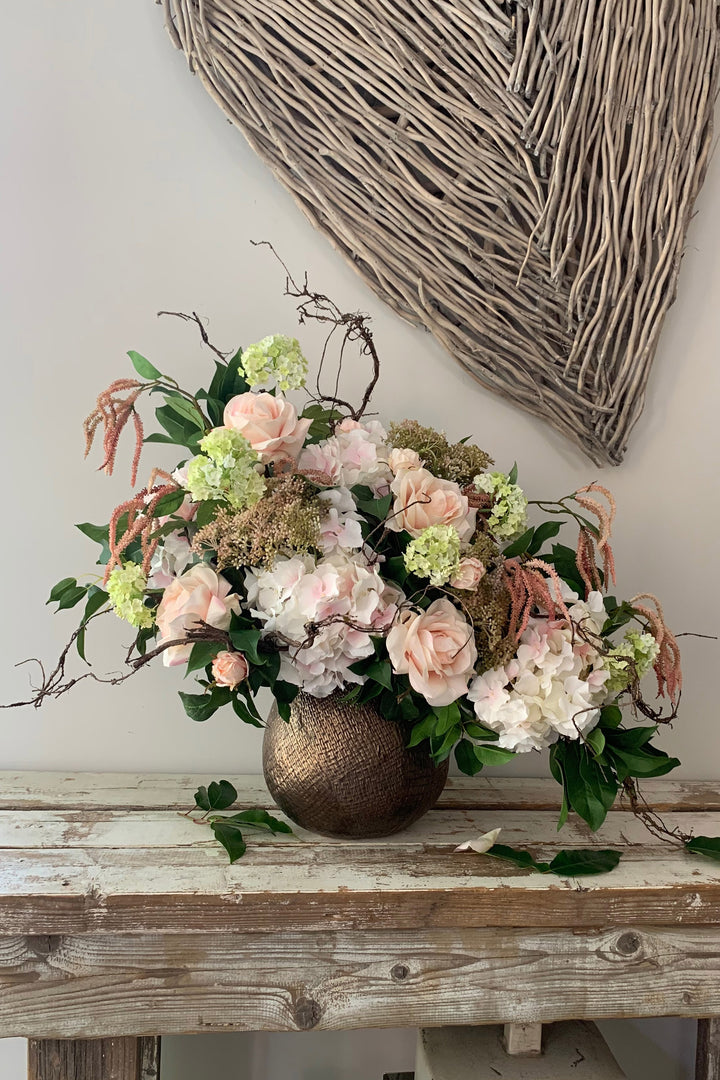 Rose, Hydrangea and Guelder Rose in a Bronze Vase (pink)