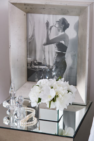 Roses, Orchid and Hydrangea in a mirror cube